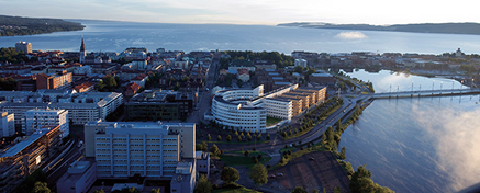 Drone photo with campus in the foreground and Jönköping and Lake Vättern in the background