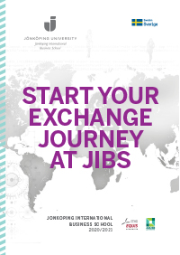 Layout of the brochure with the text: Start your exchange journey at JIBS