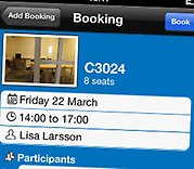 Close up on the mobile view of the booking system